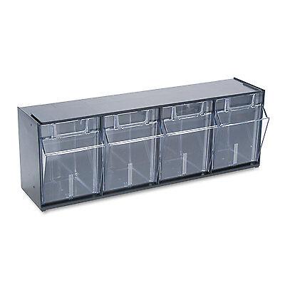 Deflecto Tilt Bin Plastic Storage System w/4 Bins 23 5/8 x 6 5/8 x 8 1/8 Black