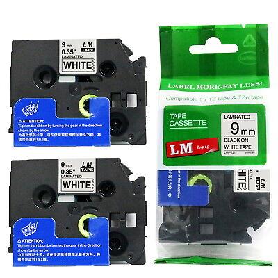2pack 9mm Black On White Tape For P-touch Model Pth110 Pt-h110 Label Maker