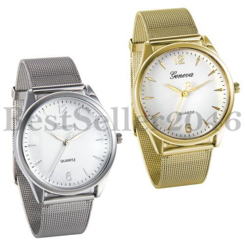 $6.99 - Geneva Luxury Mens Women Watches Stainless Steel Band Analog Quartz Wrist Watch