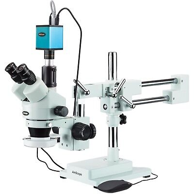 3.5x-90x Trinocular Stereo Microscope 144-led Ring Light And Af Camera
