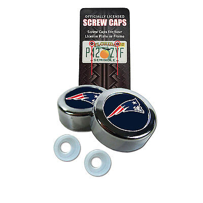 New NFL New England Patriots Car Truck License Plate Frame Screw Caps Bolt Cover - New England Patriots Plates