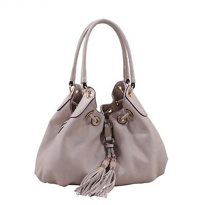 Drawstring Hobo Bag - Concettina Faux Leather Hobo Style Shoulder Hand Bag with Drawstring Tassel