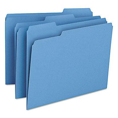 Smead File Folders 1/3 Cut Top Tab Letter Blue 100/Box 12043
