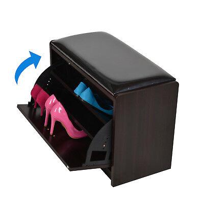 Storage Bench Seating - Wood Shoe Storage Bench Seat Ottoman Cabinet Closet Shelf Organizer PU Entryway