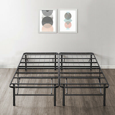 14'' Easy Setup Bi-Fold Metal Bed Frame w Under bed Storage, Mattress