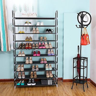 - 10 Tier 50 Pairs Storage Organizer Shelf Space Saving Shoe Wall Tower Rack Stand