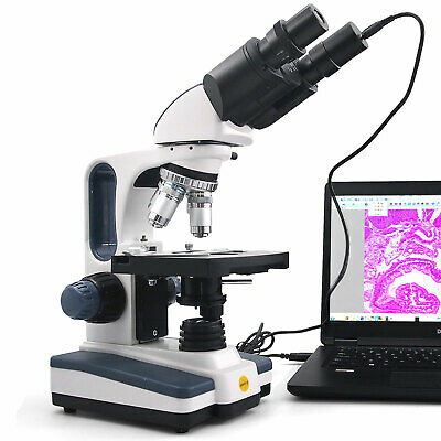Swift 40x-2500x Binocular Lab Compound Microscope Led Light Usb Digital Camera
