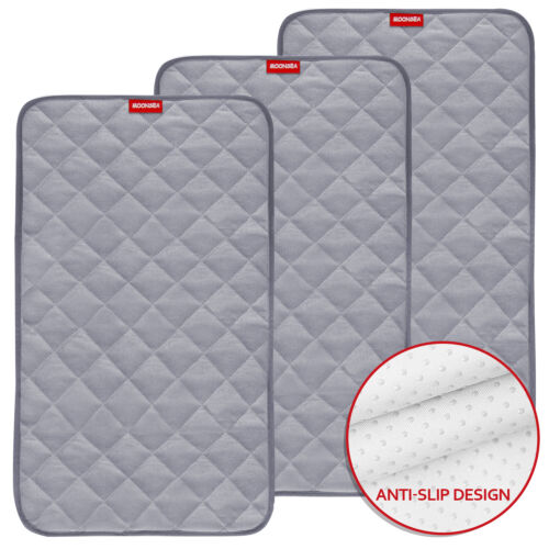 """Waterproof Changing Pad Liners Bamboo Quilted 3 Pack 14""""x 27"""" Gray Reusable"""