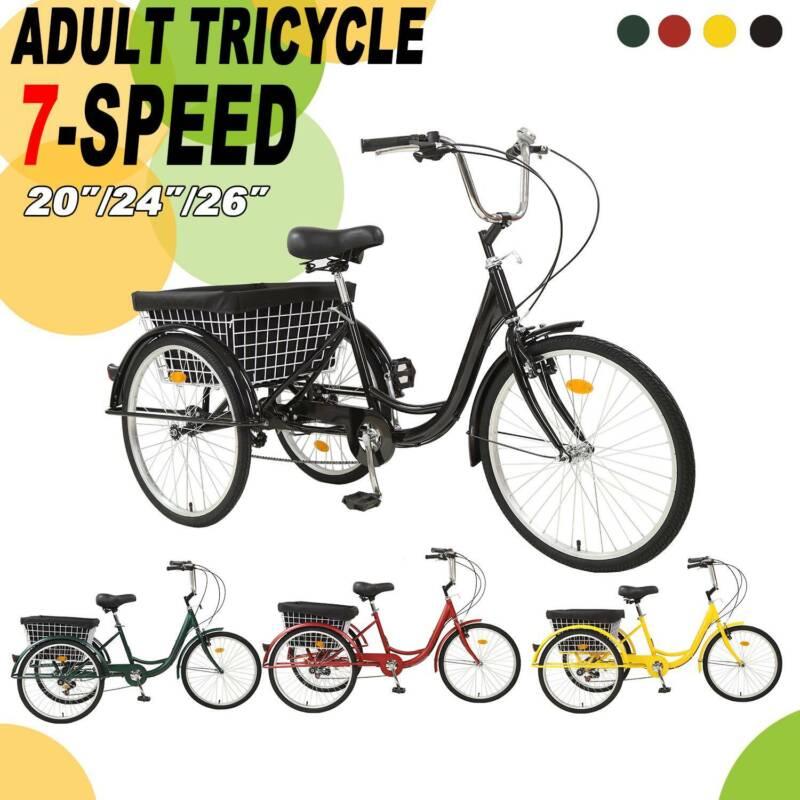 "26""/24""/20"" 7 Speed Adult Trike Tricycle 3 Wheel Bike w/Bask"