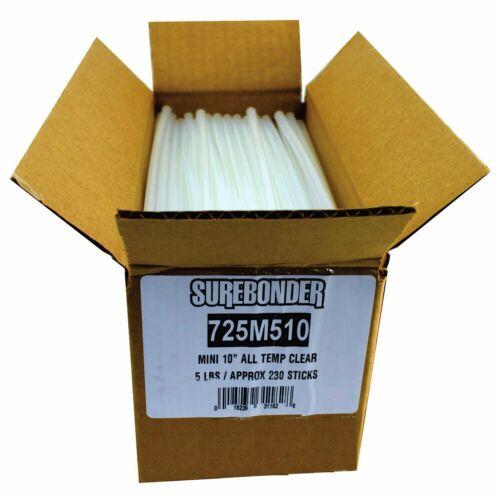 "725M510 Surebonder Mini Size 10"" Clear Hot Glue Sticks - 5 lb Box"