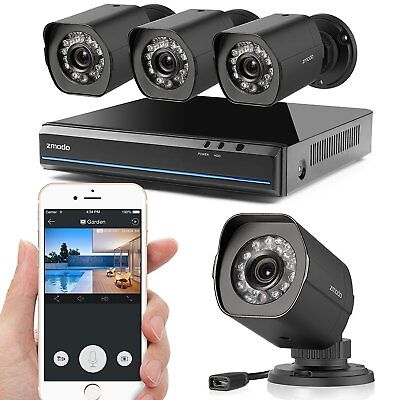 Zmodo 1080P 4Ch Network Poe Nvr 4 Ip Ir Outdoor Camera Home Surveillance No Hdd