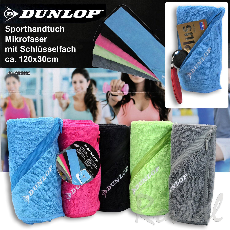 Dunlop Sport Handtuch Mikrofaser Reisehandtuch Tuch mit Schlüsselfach 120 x 30cm