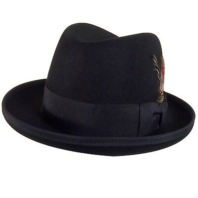 Godfather Black Fedora Hat Feather Gangster Mafia Costume Marlon Brando Movie](Fedora Black)