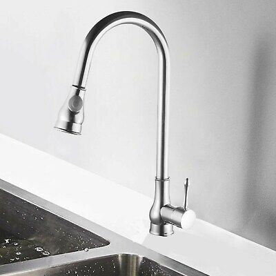 Chrome Faucet Kitchen Silver Swivel Sink Sprayer Mixer Tap Water Single Hole