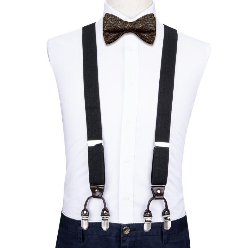 Dibangu Mens Braces Black Heavy Duty Y Back Suspenders Adjustable Clip On