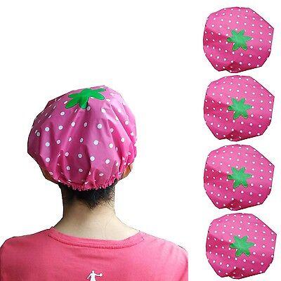 4 Pcs Women Lady Waterproof Elastic Plastic Shower Bathing Salon Cap Hat