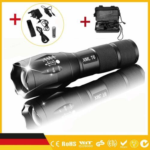 2x 18650 Taschenlampe Flashlight T6 High Power 3 Modi Zoom fähig Aluminium