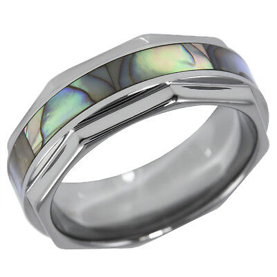 - Octagon Shaped Tungsten Ring Band with Iridescent Abalone Pearl Shell Inlay