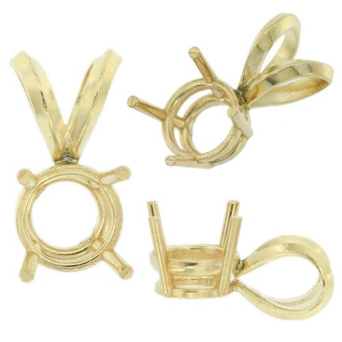 14K Yellow Gold Round Pendant Setting Rabbit Ear Bail Mounting 0.05ct - 5.00ct