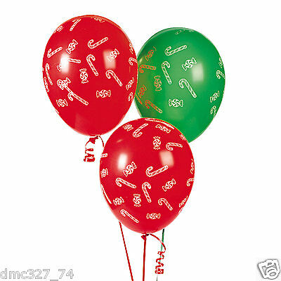 25 CHRISTMAS Holiday Party Decorations Latex BALLOONS Candy Cane - Candy Cane Balloons