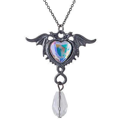 Lux Accessories Black Two Flying Dragon Heart Rhinestone Crystal Charm Necklace (Flying Heart)