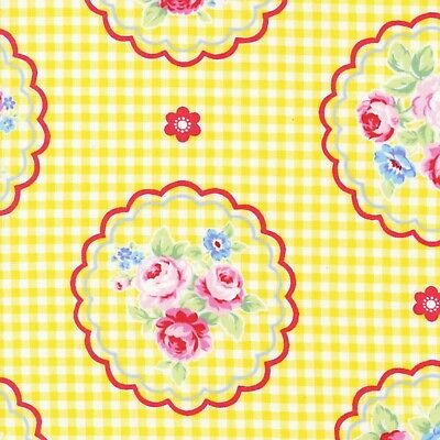 Flower Sugar Rose Kiss Shabby Yellow Gingham Cotton Quilting Fabric Lecien Japan