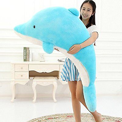 Giant Stuffed Dolphin Plush Animal Blue Sea Creature 55