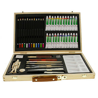 US Art Supply 50 Piece Acrylic Painting Set with Wooden Artist Storage Box