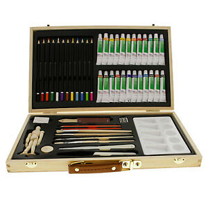 Us art supply 50 piece acrylic painting set with wooden for Acrylic mural paint supplies