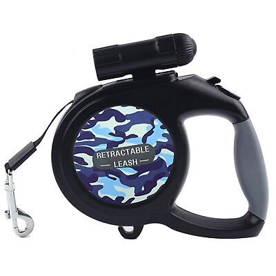 Retractable Dog Leash 26Ft Small Medium Large Dogs Up To 110lbs Flashlight Black