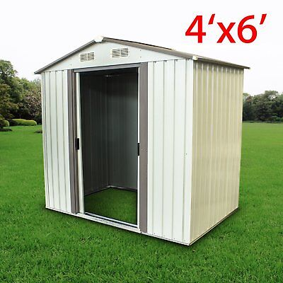 6' x 4'  Outdoor Storage Shed Steel Garden Utility Tool Backyard Lawn Waterproof