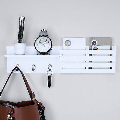 Mail Key Organizer Rack Letter Shelf Wall Mounted Entryway Hooks Storage White