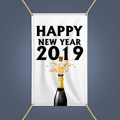 Happy New Year 2019 Banner, Outdoor Party Decor Champagne Celebration Vinyl - Banner Happy New Year