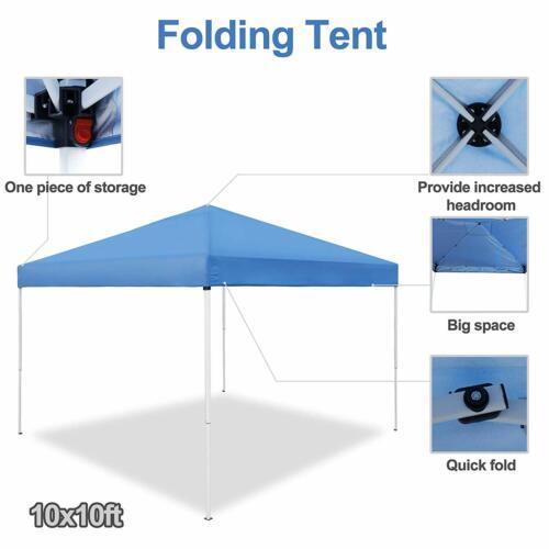 10 x 10 ft Pop Up Foldable Canopy Tent Pre-Assembled Lightweight Waterproof Blue Garden Structures & Shade