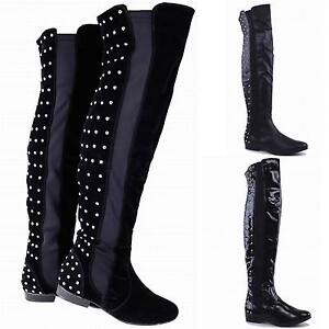LADIES-WOMENS-THIGH-HIGH-BOOTS-FLAT-STUDDED-BOOTS-OVER-THE-KNEE-SIZE-3-4-5-6-7-8