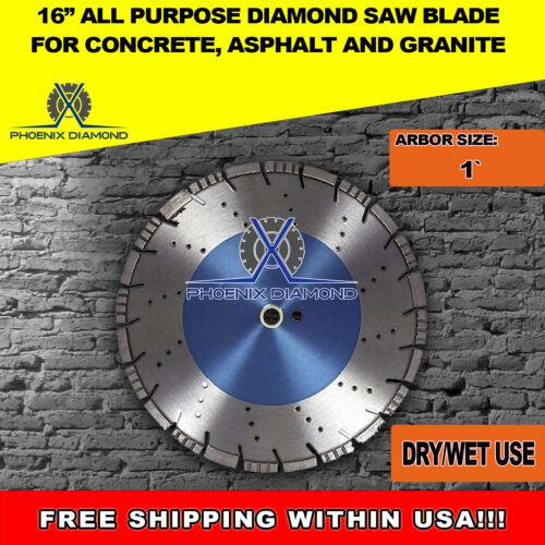 "16"" All Purpose Diamond Saw Blades for Concrete, Asphalt, & Granite, 1"" Arbor"
