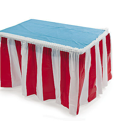 Table Striped (Red & White Striped Table Skirt Cover CIRCUS BIG TOP CARNIVAL BIRTHDAY)