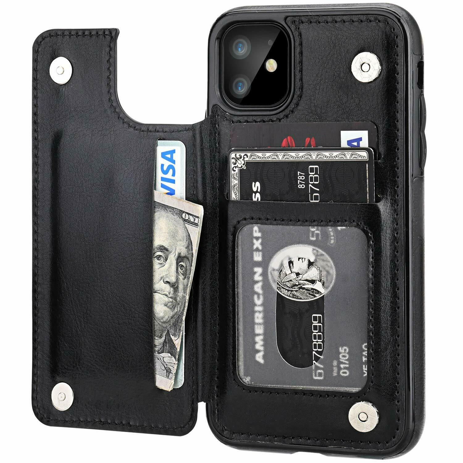 Leather Flip Wallet Card Holder Case Cover For Apple iPhone 11 Pro Max 8 7 Plus Cases, Covers & Skins