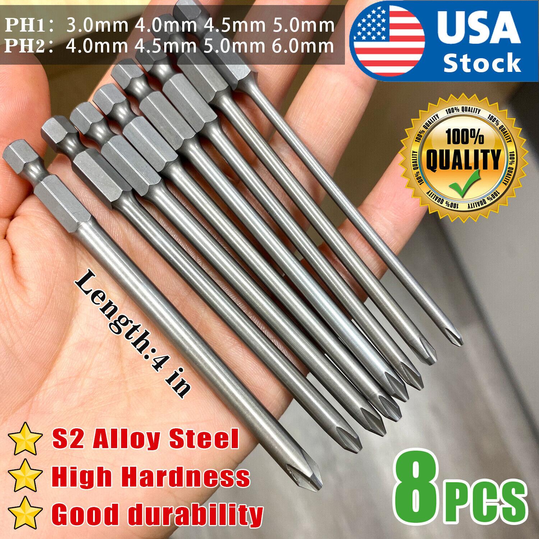 8Pcs 4in 1/4 Hex Shank Magnetic Cross Phillips Screw Head Screwdriver Bits Set Hand Tools