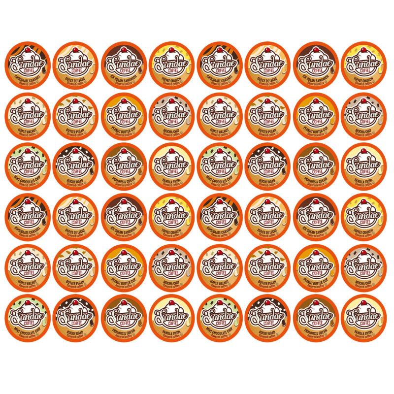 48 Sundae Ice Cream Flavored K-Cups Coffee Variety Pack for Keurig K-Cup Brewers