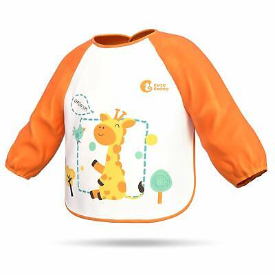 Waterproof Baby Toddler Kids Long Sleeve Bibs Apron Cartoon Feeding Smock Cloth