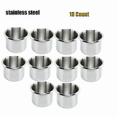 """10 Set Stainless Steel Drop in Cup Holder,Fits Drink Cup up to 2.2"""" for Boat Car"""