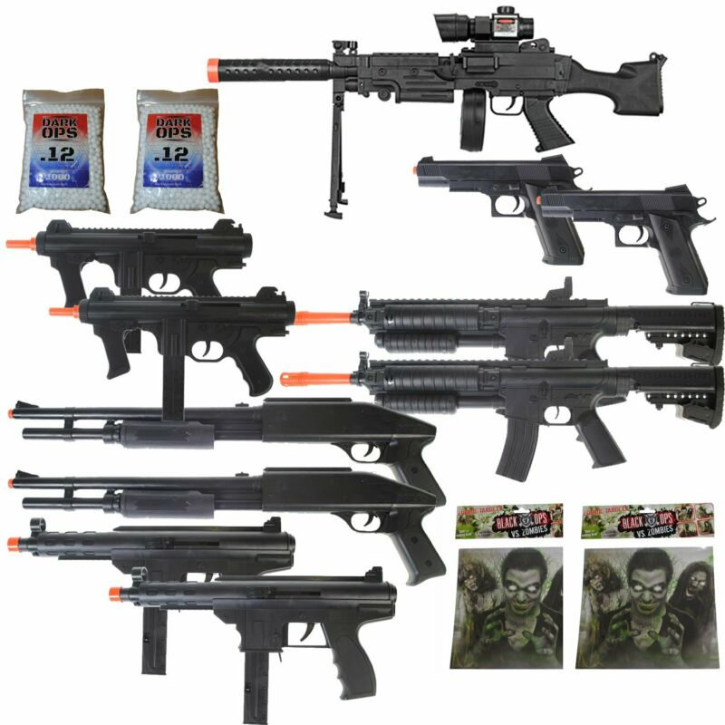 11 Airsoft Gun P2338 Sniper Rifle Package + Shotguns + Pistol + Tec9 SMG 6mm BBs