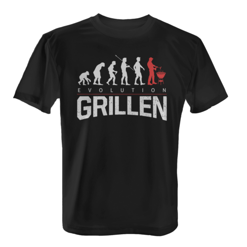 Evolution Grillen Herren T-Shirt Fun Shirt Motiv Grill Party Barbecue Fleisch