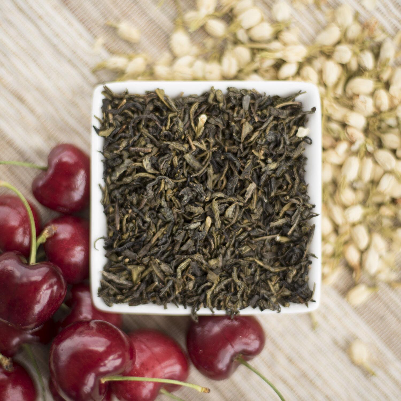 Cherry Jasmine Green Tea Organic available in loose leaf, te