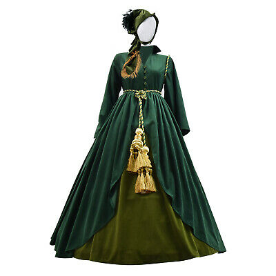 Gone with the Wind Scarlett O'Hara Cosplay Green Dress Costume Cosdaddy