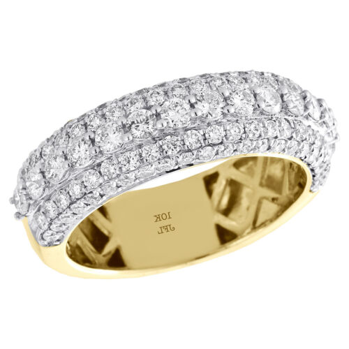 10K Yellow Gold Genuine Diamond Wedding Band 7.50mm Mens Pave Set Ring 1.95 CT.