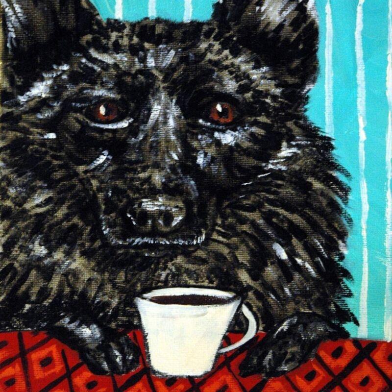 coffee art with schiperke PRINT on ceramic dog tile coaster gift modern JSCHMETZ