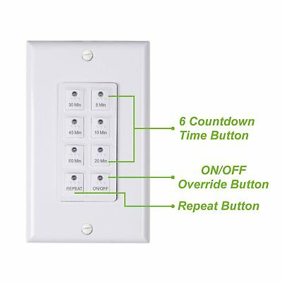 Bn-link Countdown Digital In-wall Timer 5-10-20-30-45-60mins White For Light