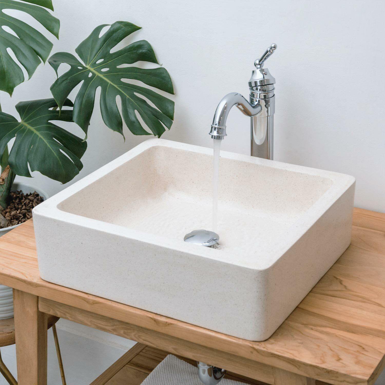wohnfreuden Aufsatz-Waschbecken Terrazzo 46x40 cm Naturstein poliert creme